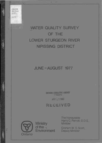 Ontario Ministry of the Environment. Northeastern Region. Technical Support Section.|Ontario Ministry of the Environment. Laboratory Services Branch. Microbiology Section. - Water quality of Lower Sturgeon River, Nipissing District, June - August 1977