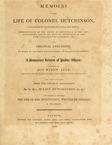 Download Memoirs of the life of Colonel Hutchinson