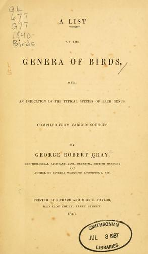 Download A  list of the genera of birds