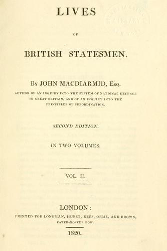 Download Lives of British statesmen.