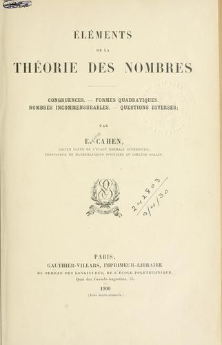 Download Éléments de la théorie des nombres
