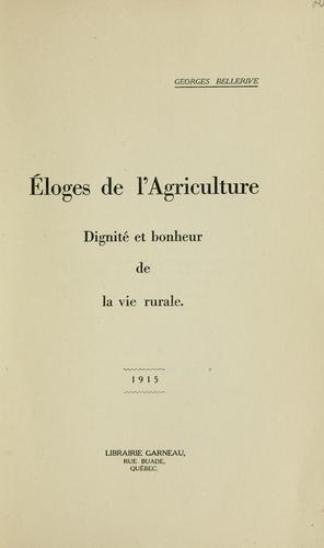 Éloges de l'agriculture