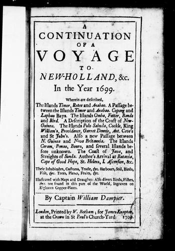 A voyage to New-Holland, &c. in the year 1699 by William Dampier