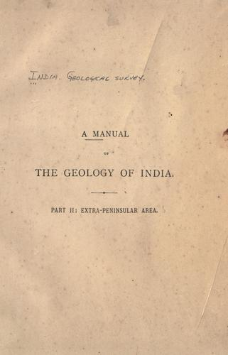 A manual of the geology of India.