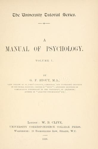 Manual of psychology .
