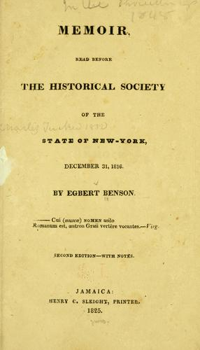Download Memoir read before the Historical society of the state of New-York, December 31,1816.