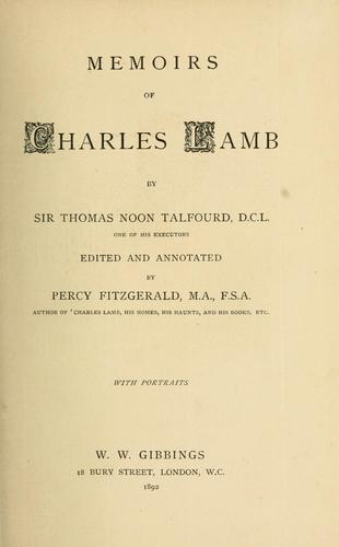 Memoirs of charles lamb.