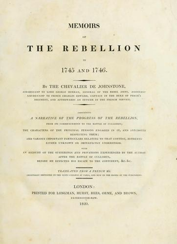 Download Memoirs of the rebellion in 1745 and 1746