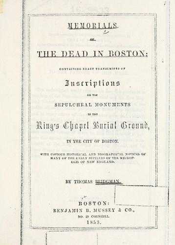 Download Memorials of the dead in Boston