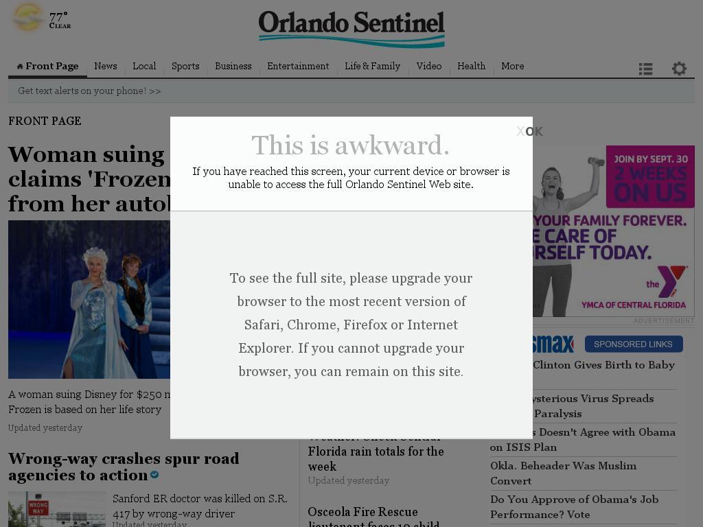 Orlando Sentinel at Sunday Sept. 28, 2014, 11:11 a.m. UTC
